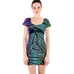 Abstract Background Rainbow Metal Short Sleeve Bodycon Dress