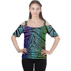 Abstract Background Rainbow Metal Women s Cutout Shoulder Tee