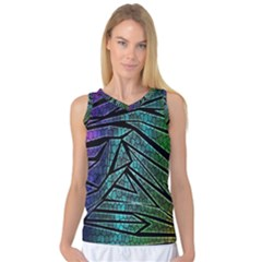 Abstract Background Rainbow Metal Women s Basketball Tank Top