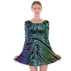 Abstract Background Rainbow Metal Long Sleeve Skater Dress