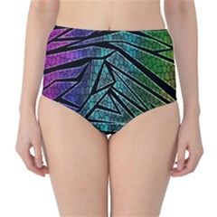 Abstract Background Rainbow Metal High-Waist Bikini Bottoms