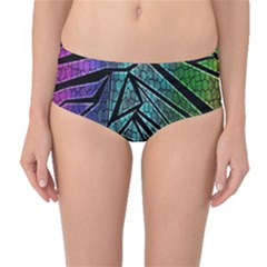 Abstract Background Rainbow Metal Mid-Waist Bikini Bottoms
