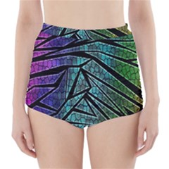 Abstract Background Rainbow Metal High-Waisted Bikini Bottoms