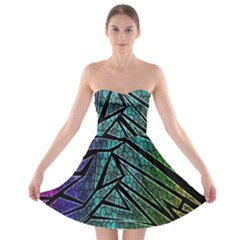 Abstract Background Rainbow Metal Strapless Bra Top Dress