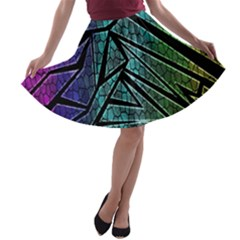 Abstract Background Rainbow Metal A-line Skater Skirt