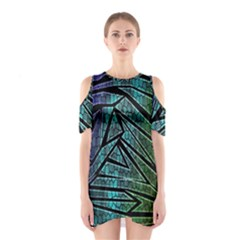 Abstract Background Rainbow Metal Cutout Shoulder Dress