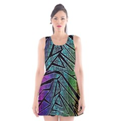 Abstract Background Rainbow Metal Scoop Neck Skater Dress