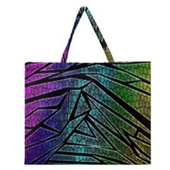 Abstract Background Rainbow Metal Zipper Large Tote Bag