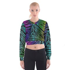 Abstract Background Rainbow Metal Women s Cropped Sweatshirt