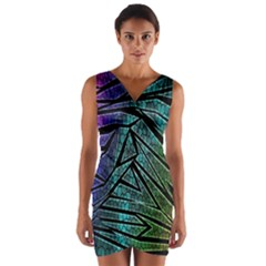 Abstract Background Rainbow Metal Wrap Front Bodycon Dress