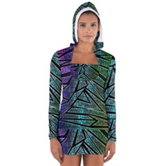 Abstract Background Rainbow Metal Women s Long Sleeve Hooded T-shirt