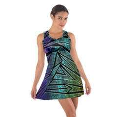Abstract Background Rainbow Metal Cotton Racerback Dress