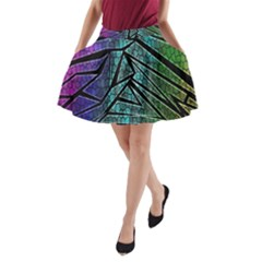 Abstract Background Rainbow Metal A-Line Pocket Skirt