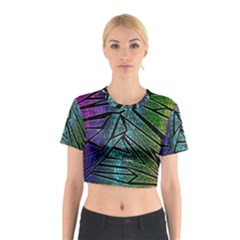 Abstract Background Rainbow Metal Cotton Crop Top