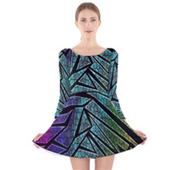 Abstract Background Rainbow Metal Long Sleeve Velvet Skater Dress