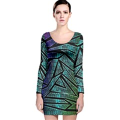 Abstract Background Rainbow Metal Long Sleeve Velvet Bodycon Dress