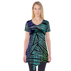 Abstract Background Rainbow Metal Short Sleeve Tunic