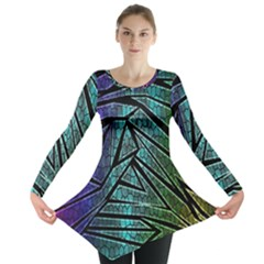 Abstract Background Rainbow Metal Long Sleeve Tunic