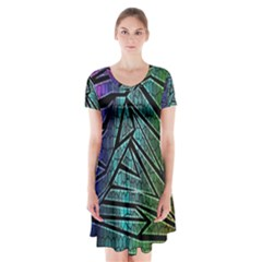 Abstract Background Rainbow Metal Short Sleeve V-neck Flare Dress