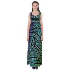 Abstract Background Rainbow Metal Empire Waist Maxi Dress