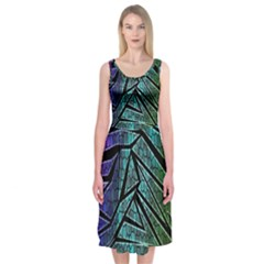 Abstract Background Rainbow Metal Midi Sleeveless Dress