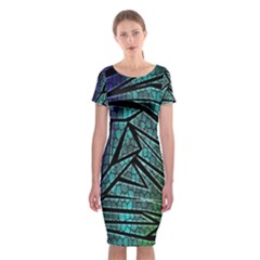 Abstract Background Rainbow Metal Classic Short Sleeve Midi Dress