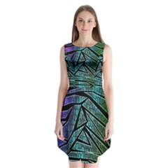 Abstract Background Rainbow Metal Sleeveless Chiffon Dress