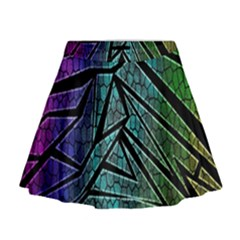 Abstract Background Rainbow Metal Mini Flare Skirt