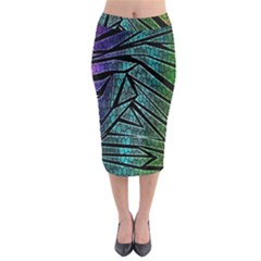Abstract Background Rainbow Metal Midi Pencil Skirt
