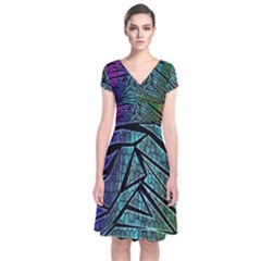 Abstract Background Rainbow Metal Short Sleeve Front Wrap Dress