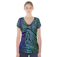 Abstract Background Rainbow Metal Short Sleeve Front Detail Top