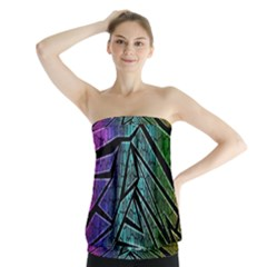 Abstract Background Rainbow Metal Strapless Top