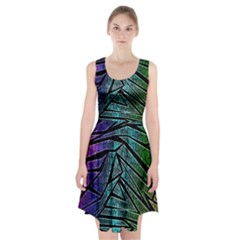 Abstract Background Rainbow Metal Racerback Midi Dress