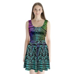 Abstract Background Rainbow Metal Split Back Mini Dress