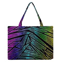 Abstract Background Rainbow Metal Medium Zipper Tote Bag