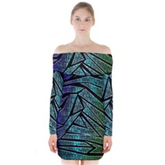 Abstract Background Rainbow Metal Long Sleeve Off Shoulder Dress