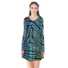 Abstract Background Rainbow Metal Flare Dress