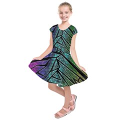 Abstract Background Rainbow Metal Kids  Short Sleeve Dress
