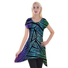 Abstract Background Rainbow Metal Short Sleeve Side Drop Tunic