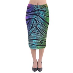 Abstract Background Rainbow Metal Velvet Midi Pencil Skirt