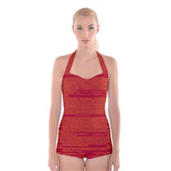 Writing Grace Boyleg Halter Swimsuit