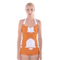 Bell Orange Copy Boyleg Halter Swimsuit