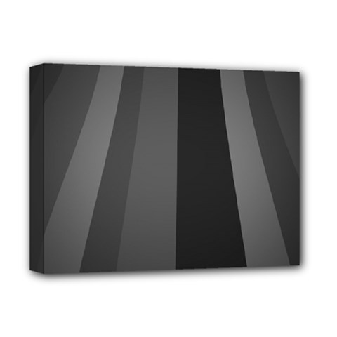 Black Minimalistic Gray Stripes Deluxe Canvas 16  x 12
