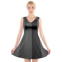 Black Minimalistic Gray Stripes V-Neck Sleeveless Skater Dress