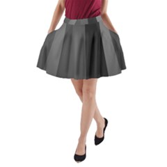Black Minimalistic Gray Stripes A-Line Pocket Skirt