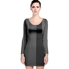 Black Minimalistic Gray Stripes Long Sleeve Velvet Bodycon Dress