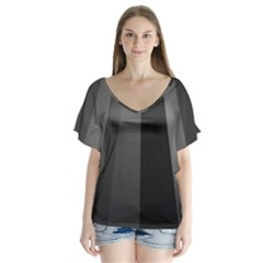 Black Minimalistic Gray Stripes Flutter Sleeve Top