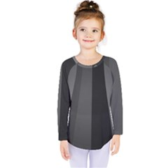Black Minimalistic Gray Stripes Kids  Long Sleeve Tee