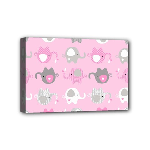 Animals Elephant Pink Cute Mini Canvas 6  x 4