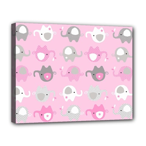 Animals Elephant Pink Cute Canvas 14  x 11